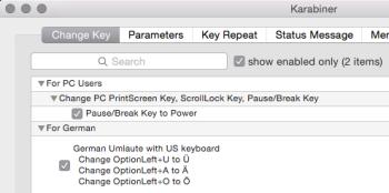 Einstellungen für US-PC-Tastatur