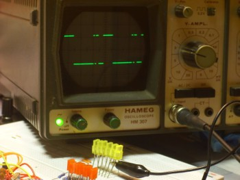 Brightness 75 on the oscilloscope