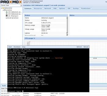 Proxmox' Weboberfläche